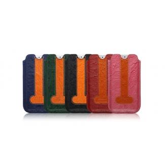 Kožené púzdro zasúvacie pre iPhone 5, 5S ICARER - pštros