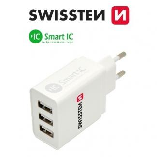 SWISSTEN sieťový adaptér smart IC 3x USB 3,1A