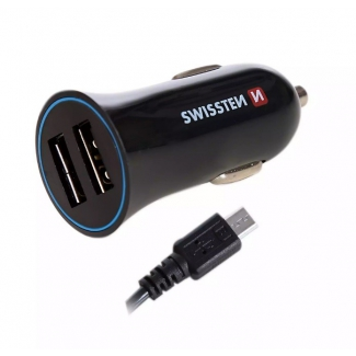 SWISSTEN 2x USB autonabíjačka 2,4A + micro USB kábel