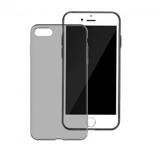 Tenké silikónové ochranné púzdro pre iPhone 7 - čierne priesvitné