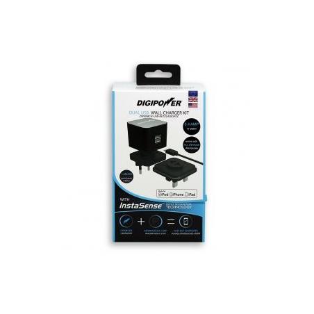 DigiPower Inteligentná 3,4 A nabíjačka do zásuvky 2 zariadenia + lightning kábel