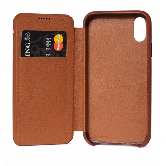 Púzdro Decoded Leather Slim Wallet pre iPhone XR - hnedé