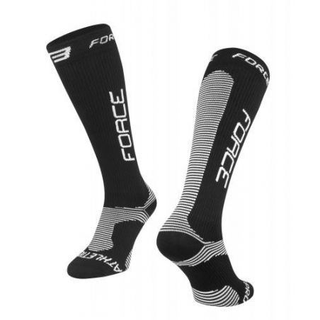 Ponožky FORCE ATHLETIC PRO KOMPRES, čierne, Vel:L-XL (42-47)