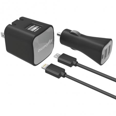 Sada Digipower Dual USB nabíjačka, autonabíjačka, Lightning kábel, Micro USB kábel