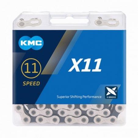 Reťaz KMC X 11 strieborno-čierna, 118 čl.