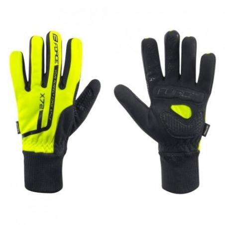 Rukavice Force X72 Fluo cyklistické zimné, čierno-žlté