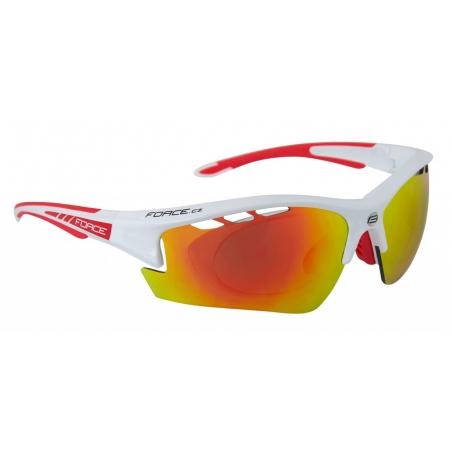 Okuliare FORCE Ride Pro biele diop.klip, červené laser sklá