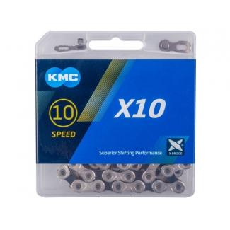 Reťaz KMC X 10 strieborno-čierna,  114 čl.